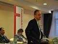 """Podiumsdiskussion """"Brennendes Arabien"""" am 14.04.2011 im Maritim Hotel Magdeburg - Presseclub-Vorstandsmitglied Mathias Geraldy eröffnet die Veranstaltung und begrüßt die Gäste."""