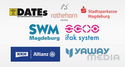mit Unterstützung von DATEs, Stadtsparkasse Magdeburg, SWM, ifak system GmbH, KKH Allianz, Yaway Media und rothehorn Gruppe